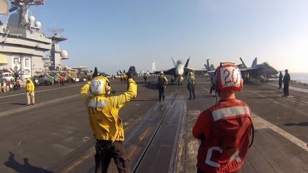太悲催了!美航母喷射气流挡板操作员!第一视角!