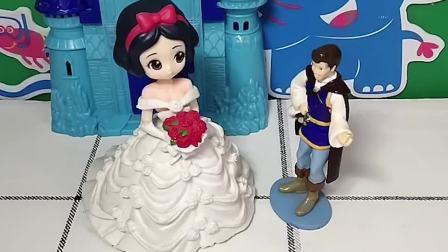 白雪和王子结婚了,公主们都来送祝福,小朋友们,你们会祝福白雪吗