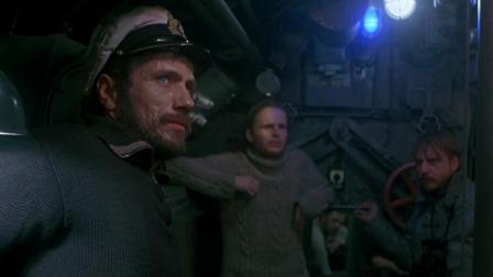 德国潜艇遭遇英国驱逐舰超声波定位,中深水炸弹,水下起火