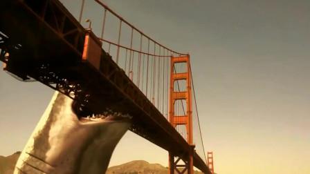 鲨鱼啾大战乌贼娘:巨型鲨鱼一口下去大桥断成两半