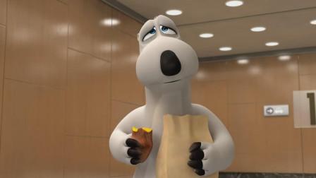 倒霉熊:倒霉熊和小企鹅吃烤地瓜放屁,电梯里都快看不见人了
