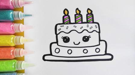 儿童简笔画教程,画一个双层生日蛋糕,3-12岁小朋友学画画