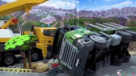 成长益智玩具,工程车在野外抛锚,救援队前往!