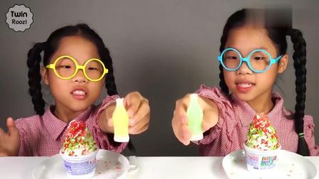 小女孩用迷你汽水在蛋糕上作画,吃美味冰淇淋!