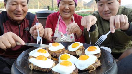 韩国兴森一家三口:妈妈牌家庭自制汉堡牛排,我和爸爸都很喜欢,吃完感觉很过瘾!