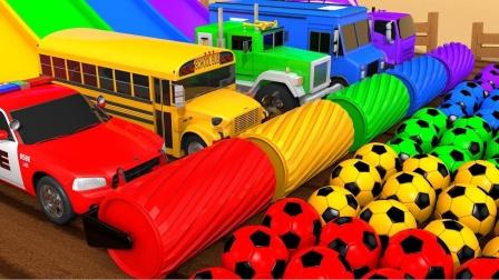 小汽车在彩色的跑道上比赛