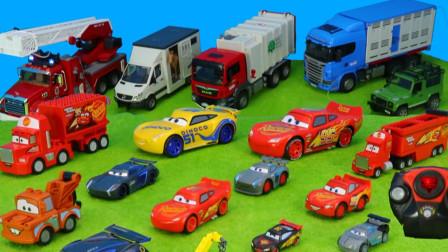 儿童玩具车表演:铲车清理沙子,环卫车回收垃圾,消防员扑灭大火!