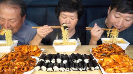 韩国兴森一家三口:全家享用清脆的萝卜泡菜和辣辣的炒鱿鱼鱼饼,还有小紫菜包饭!