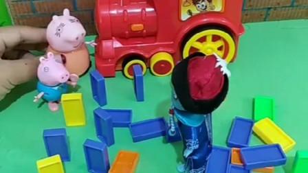 江小鱼不小心把乔治的多米牌给弄倒了,佩琪说没关系