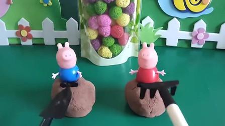 乔治和佩奇比赛,谁先从上面掉下来就能吃到橡皮糖,谁会赢?