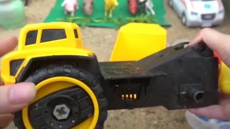 儿童玩具车表演:动手组装和认识翻斗车!