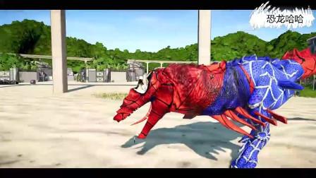 变异飞天龙击杀副栉龙,变异鸡龙战霸王龙 恐龙动漫
