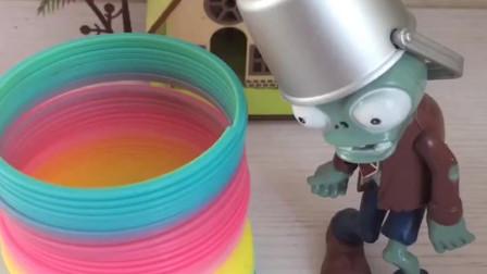 铁桶僵尸看见了一个彩色的圈,想去玩,结果被套住了!