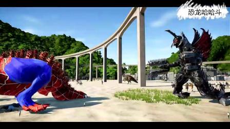 哥斯拉版霸王龙击杀盖刚和迅猛龙 恐龙动漫