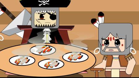 迷你大陆动画:村长和海盗在吃海鲜!白发长老却在大海里漂流