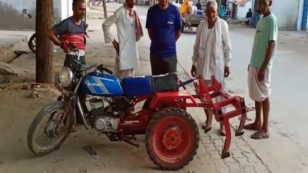 摩托车改装成犁地工具,这国外小哥太有创意了,不愧是民间牛人