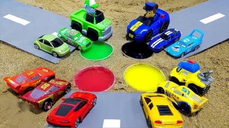 彩色汽车玩具变换造型