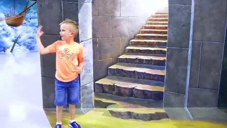 儿童亲子互动,小帅哥在幻想博物馆和恐龙公园,真好玩
