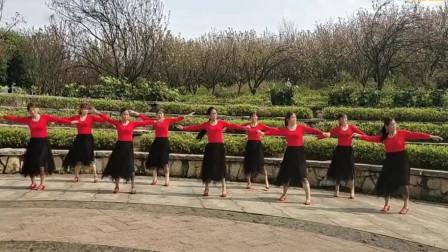 农村团队大妈们服装整齐舞姿优美【山花烂漫】