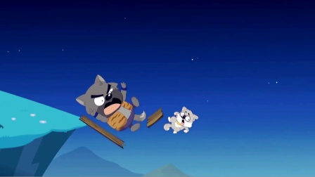 灰太狗被灰二狼追击双双掉下悬崖,喜羊羊紧急出手相救