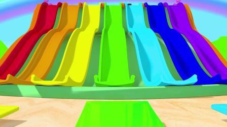 车车从彩虹滑梯上冲下来直奔彩虹蛋糕 宝宝学颜色  英语启蒙