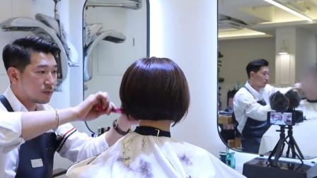 三角形与圆形堆积技术组合修剪短发,美发详解二