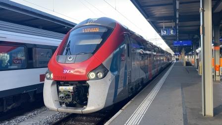 法国国家铁路Léman Express 莱蒙特快Z 31500动车组SL1线Evlan埃维昂莱班(依云小镇)方向列车瑞士Genève日内瓦车站出站发车
