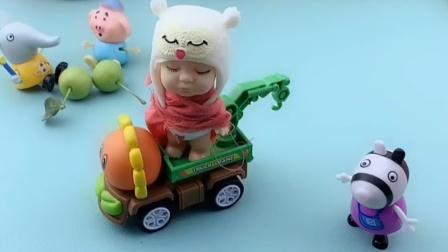 小宝贝开着小汽车,到底要去干嘛呢