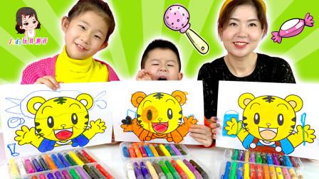 亲子绘画比赛卡通巧虎,你更喜欢谁的画?