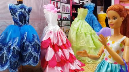 玩具故事:芭比娃娃去朋友家新开的婚纱店做新娘造型,试穿新衣服