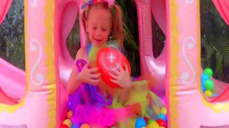 国外萌宝时尚,小萝莉寻找彩色气球,真的太棒