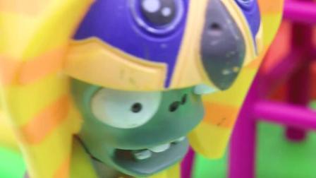 亲子有趣幼教视频:僵尸不让大家玩滑梯了,结果自己被卡住了