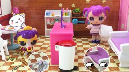 亿奇娃娃整理好的房间被狗狗弄乱了