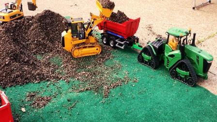 遥控工程车施工介绍,装载车挖掘机拖车自卸车,儿童玩具亲子互动