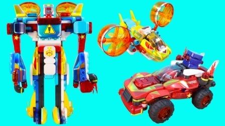 百变布鲁可合体战士积木玩具