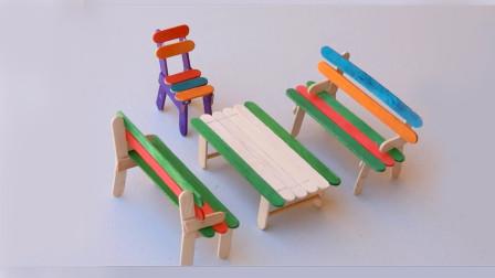 创意冰棒棍手工教程——用冰棒棍做桌椅教程