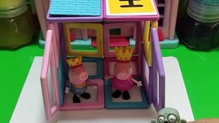 佩奇乔治遇到下雨都躲进了屋里,看到小僵尸可怜,乔治会帮助他吗