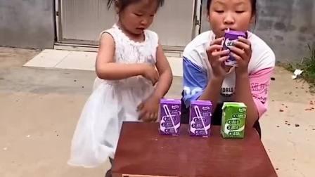 童年趣事:萌娃拿了酸奶,第一个想到奶奶