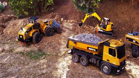 遥控工程车施工,搅拌车挖掘机自卸车日常工作,儿童玩具