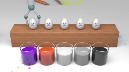 早教益智色彩认知,银色奇趣蛋在油漆桶涂为彩虹色,有趣学习颜色