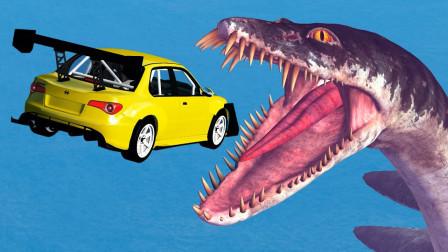"""汽车飞跃""""深海巨蛇""""会怎样?3D动画模拟,画面不要太刺激!"""
