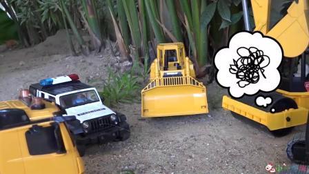 成长益智玩具,工程车挖掘机搅拌车开会,碾压机被绕晕!