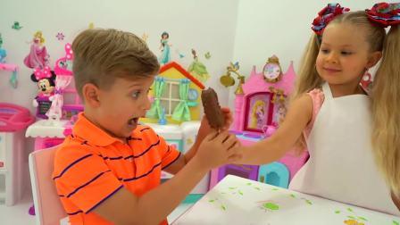 美国时尚儿童,小可爱给哥哥制作冰棒,来看看吧