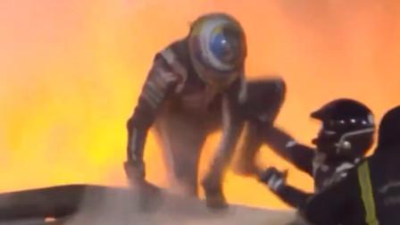 F1巴林大奖赛重大事故:赛车撞墙起火 车手从火海中跳出