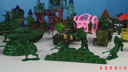 蓝色兵人用飞机轰炸和坦克强攻打败绿色兵人,占领了古堡抢了宝箱