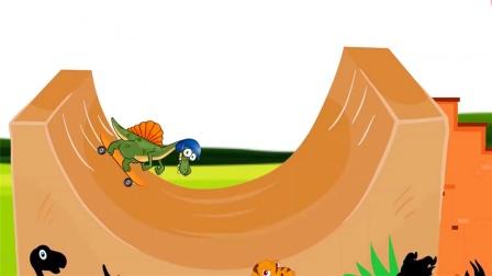 恐龙高空滑板表演,根本停不下来?