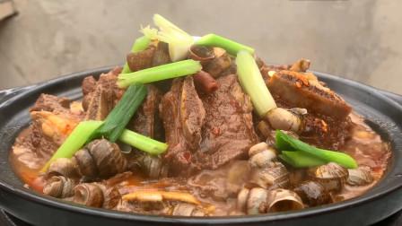 """广西美食四大天王之一""""螺蛳牛排煲""""的做法,吃完用汤汁捞螺蛳粉"""