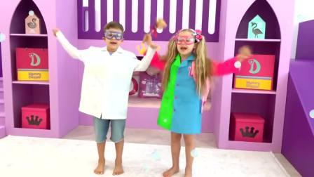 美国时尚儿童,小公主和小男孩一起扮演卡通人物,真有趣呀