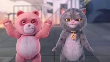 粉红熊和猫咪尬舞?谁比较厉害?