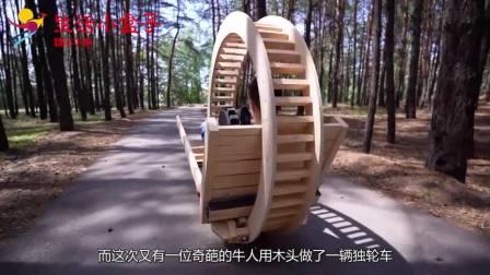 外国牛人脑洞大开,用木板制作巨大独轮车,最后成品酷炫了!